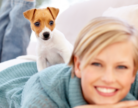woman lying down with small puppy on her back